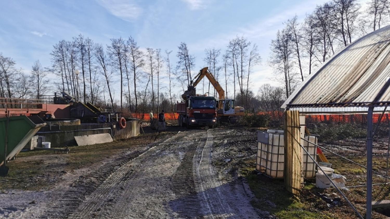 Izvedba del v sklopu izgradnje čistilne naprave Rače, januar 2021